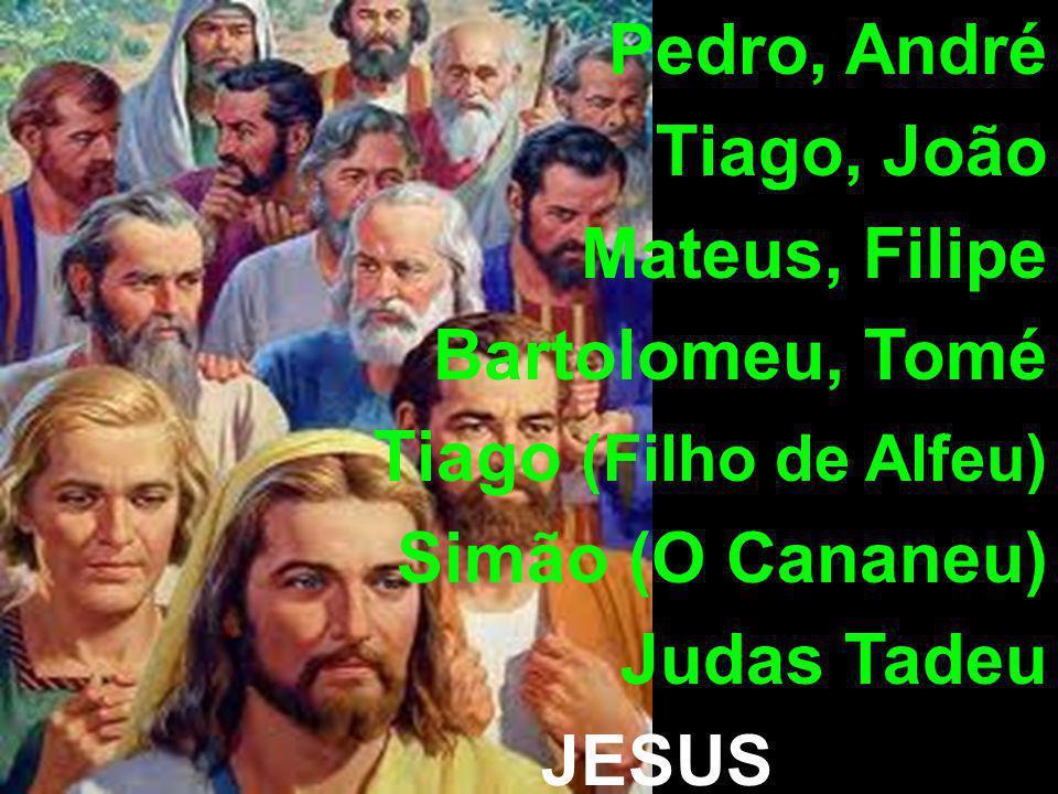 Pedro, André Tiago, João Mateus, Filipe Bartolomeu, Tomé Tiago (Filho de Alfeu) Simão (O Cananeu) Judas Tadeu JESUS Judas Iscariotes
