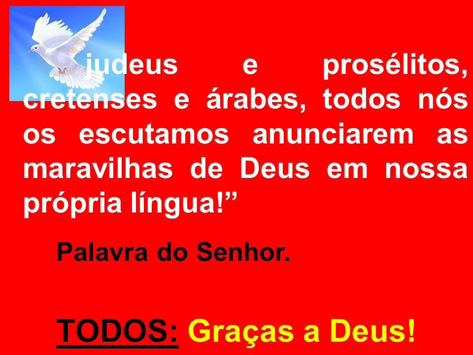 judeus e prosélitos, cretenses e árabes, todos nós os escutamos anunciarem as maravilhas de Deus em nossa própria língua!
