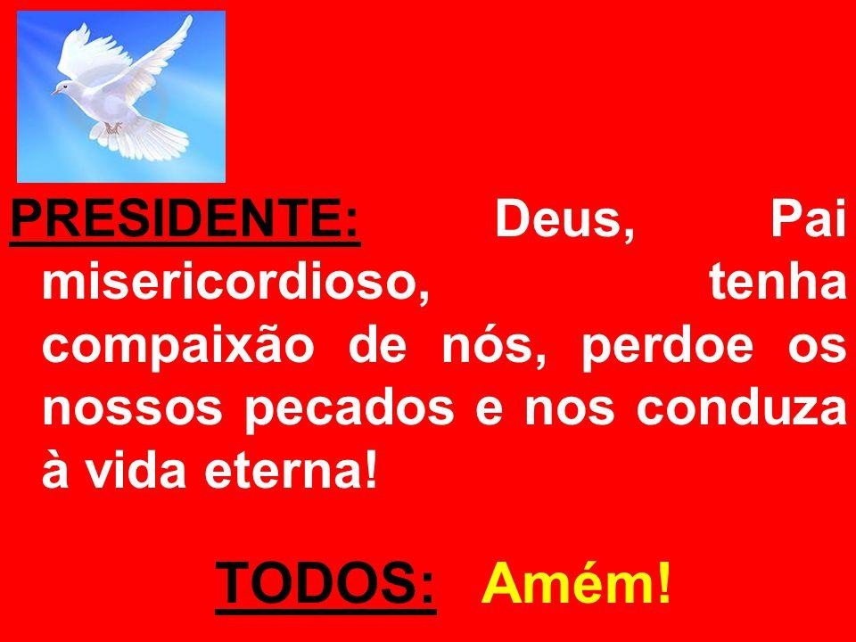 PRESIDENTE: Deus, Pai misericordioso, tenha compaixão de nós, perdoe os nossos pecados e nos conduza à vida eterna!