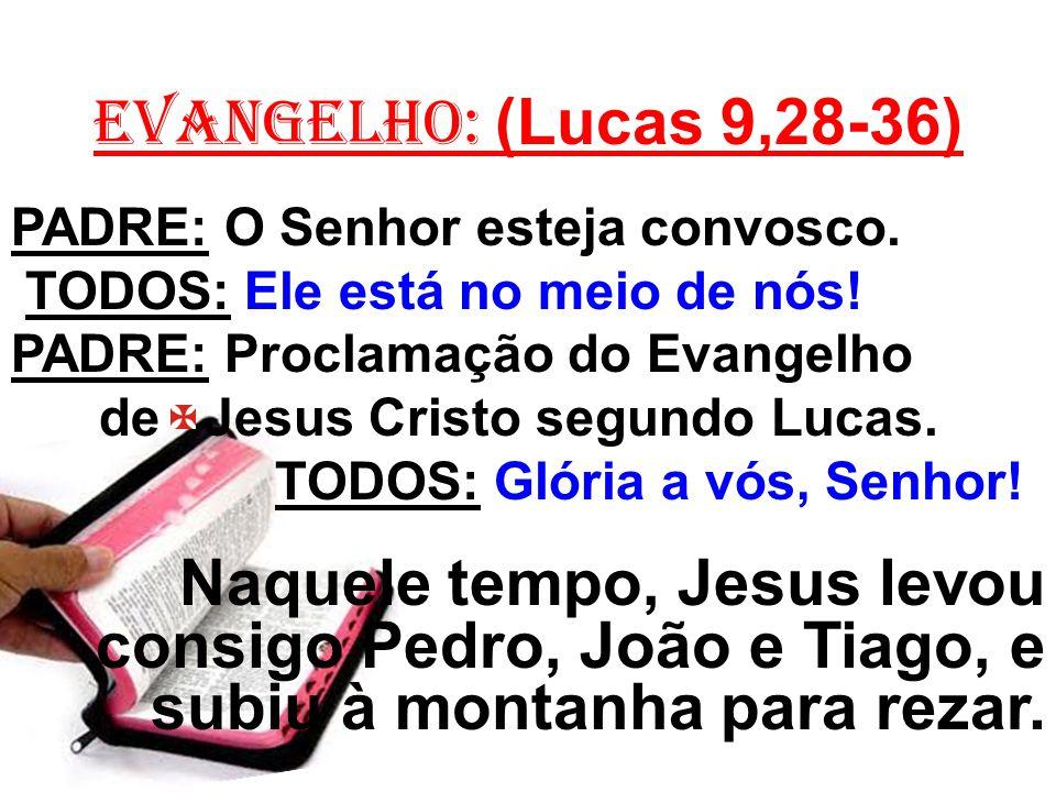 EVANGELHO: (Lucas 9,28-36) PADRE: O Senhor esteja convosco. TODOS: Ele está no meio de nós! PADRE: Proclamação do Evangelho.