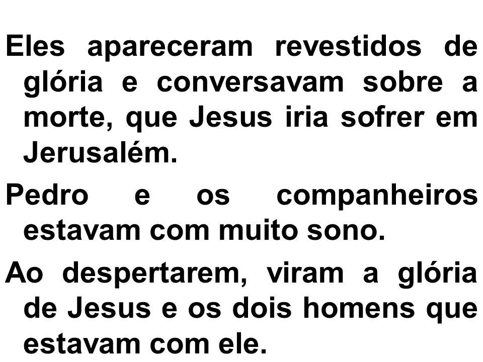 Eles apareceram revestidos de glória e conversavam sobre a morte, que Jesus iria sofrer em Jerusalém.