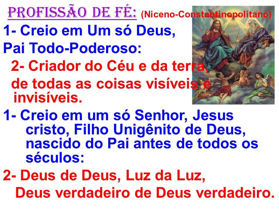 PROFISSÃO DE FÉ: (Niceno-Constantinopolitano)