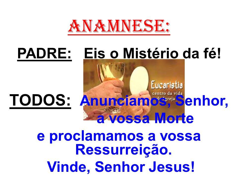 ANAMNESE: TODOS: Anunciamos, Senhor, PADRE: Eis o Mistério da fé!