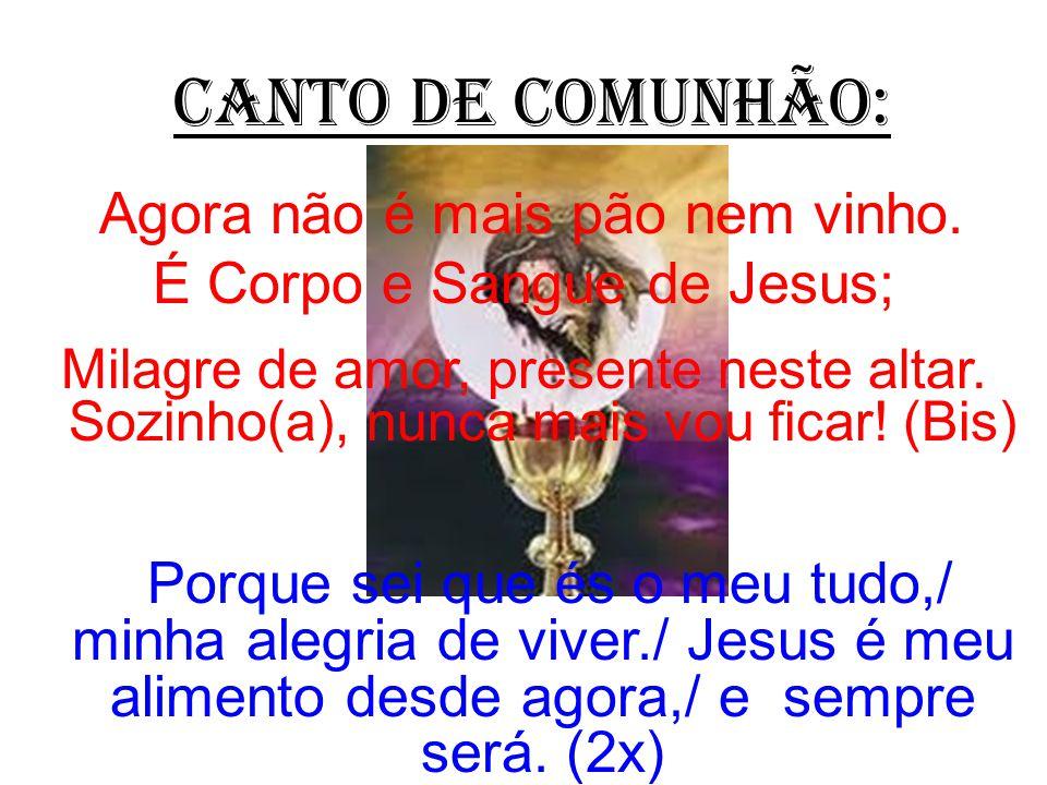 CANTO DE COMUNHÃO: Agora não é mais pão nem vinho. É Corpo e Sangue de Jesus;