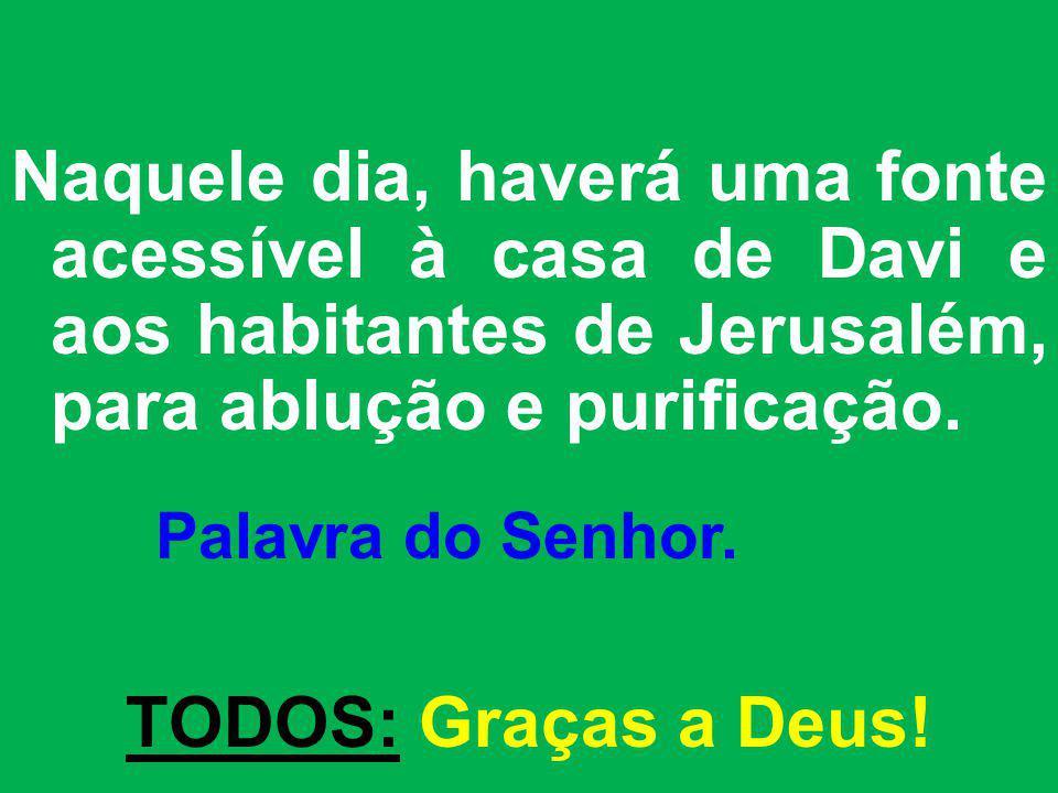 Naquele dia, haverá uma fonte acessível à casa de Davi e aos habitantes de Jerusalém, para ablução e purificação.