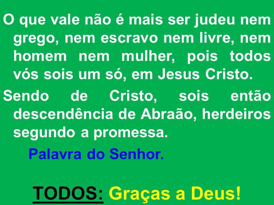 O que vale não é mais ser judeu nem grego, nem escravo nem livre, nem homem nem mulher, pois todos vós sois um só, em Jesus Cristo.