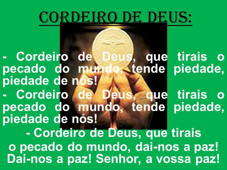 cordeiro de deus: - Cordeiro de Deus, que tirais o pecado do mundo, tende piedade, piedade de nós!