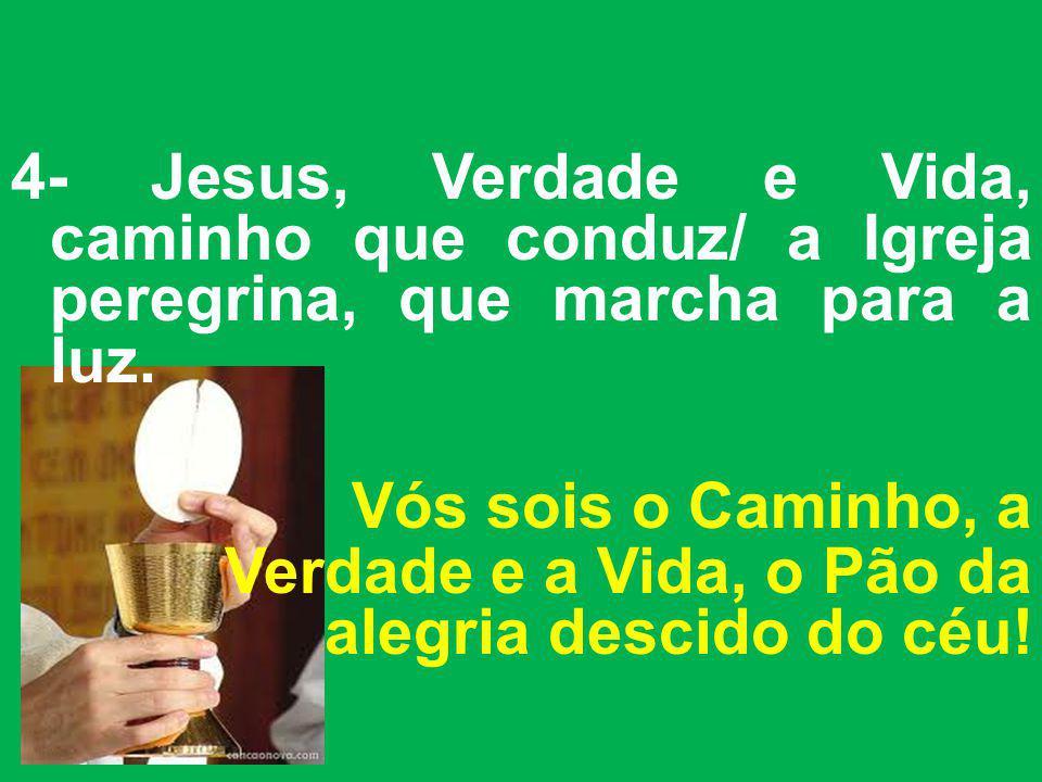 4- Jesus, Verdade e Vida, caminho que conduz/ a Igreja peregrina, que marcha para a luz.