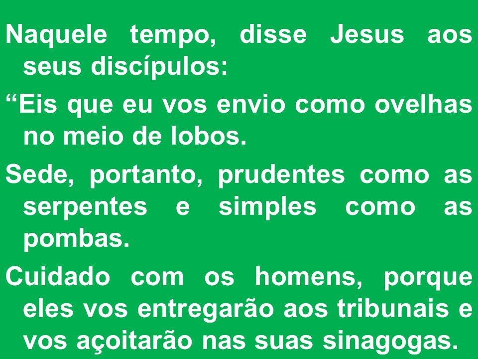Naquele tempo, disse Jesus aos seus discípulos: Eis que eu vos envio como ovelhas no meio de lobos.