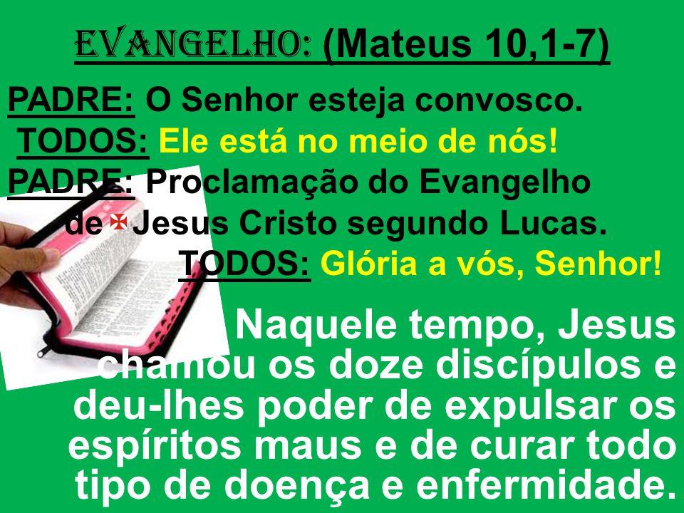 EVANGELHO: (Mateus 10,1-7) PADRE: O Senhor esteja convosco. TODOS: Ele está no meio de nós! PADRE: Proclamação do Evangelho.