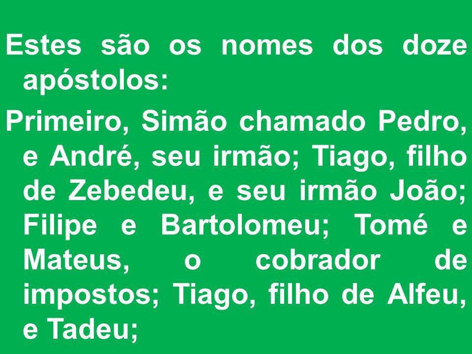 Estes são os nomes dos doze apóstolos: Primeiro, Simão chamado Pedro, e André, seu irmão; Tiago, filho de Zebedeu, e seu irmão João; Filipe e Bartolomeu; Tomé e Mateus, o cobrador de impostos; Tiago, filho de Alfeu, e Tadeu;