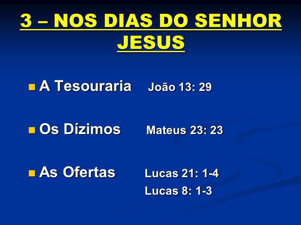 3 – NOS DIAS DO SENHOR JESUS