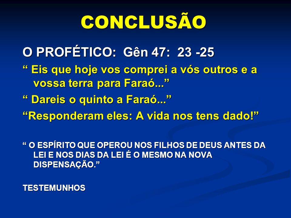 CONCLUSÃO O PROFÉTICO: Gên 47: 23 -25