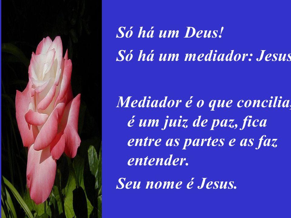 Só há um Deus! Só há um mediador: Jesus. Mediador é o que concilia, é um juiz de paz, fica entre as partes e as faz entender.