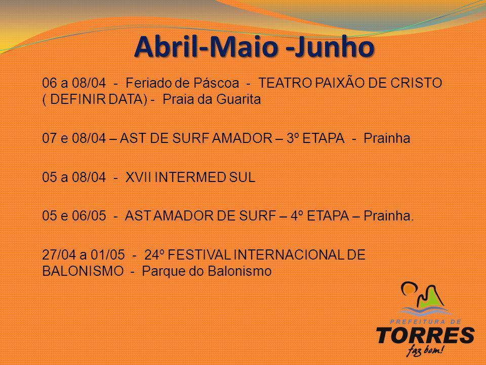 Abril-Maio -Junho 06 a 08/04 - Feriado de Páscoa - TEATRO PAIXÃO DE CRISTO ( DEFINIR DATA) - Praia da Guarita.