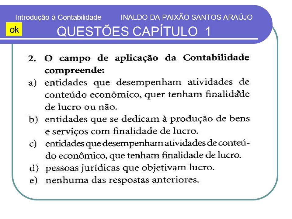 Introdução à Contabilidade INALDO DA PAIXÃO SANTOS ARAÚJO QUESTÕES CAPÍTULO 1