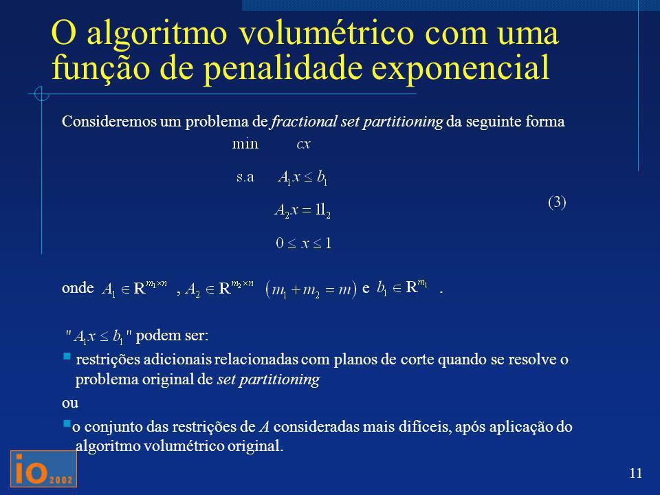 O algoritmo volumétrico com uma função de penalidade exponencial