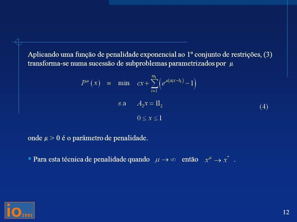 Aplicando uma função de penalidade exponencial ao 1º conjunto de restrições, (3) transforma-se numa sucessão de subproblemas parametrizados por m