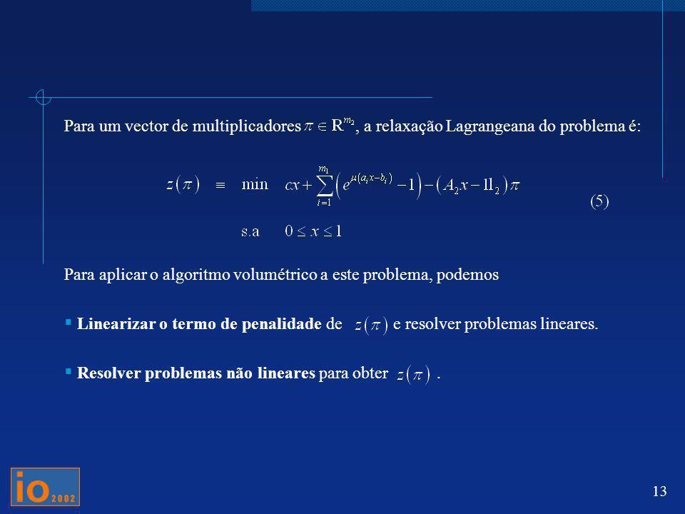 Para um vector de multiplicadores