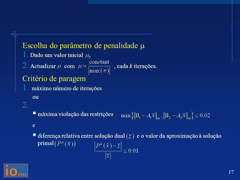 Escolha do parâmetro de penalidade m