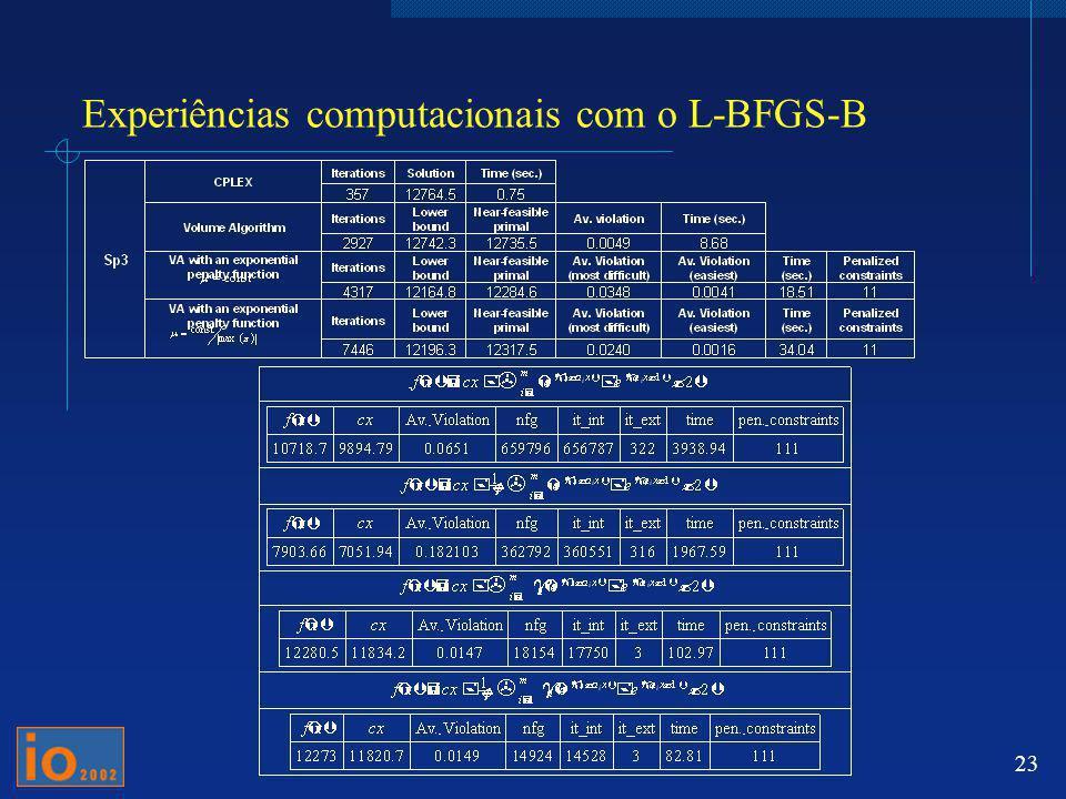 Experiências computacionais com o L-BFGS-B