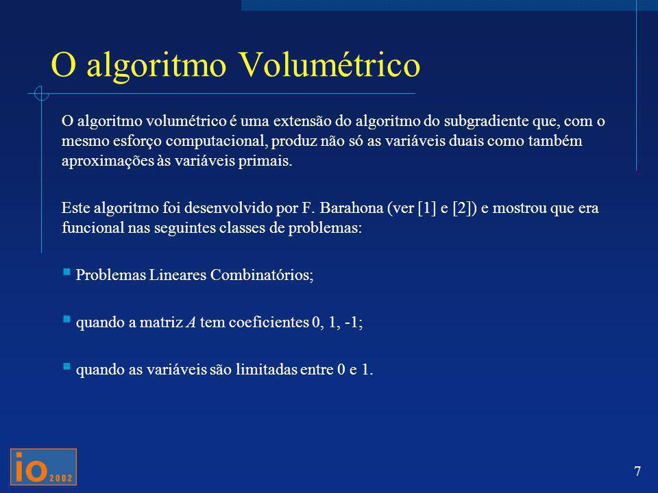 O algoritmo Volumétrico