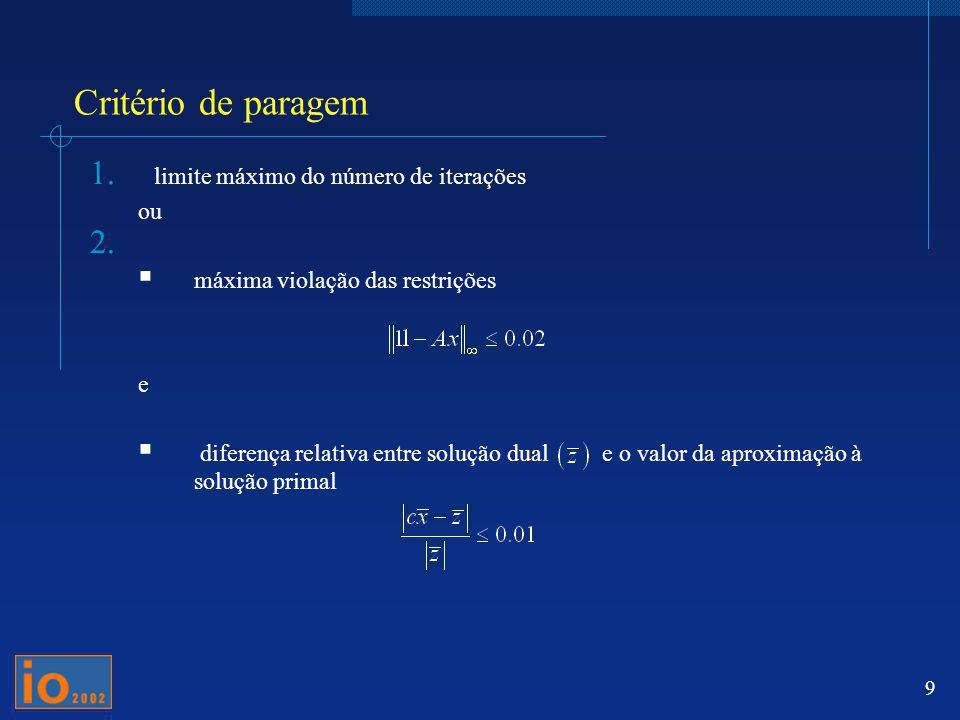 Critério de paragem limite máximo do número de iterações ou