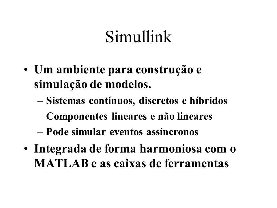 Simullink Um ambiente para construção e simulação de modelos.