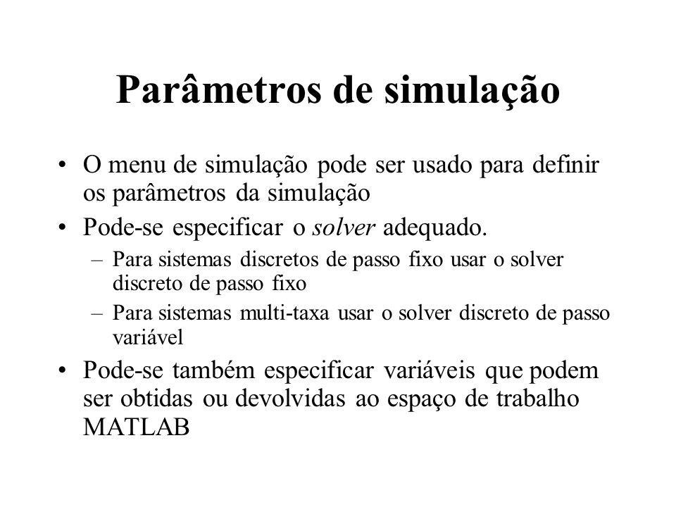 Parâmetros de simulação