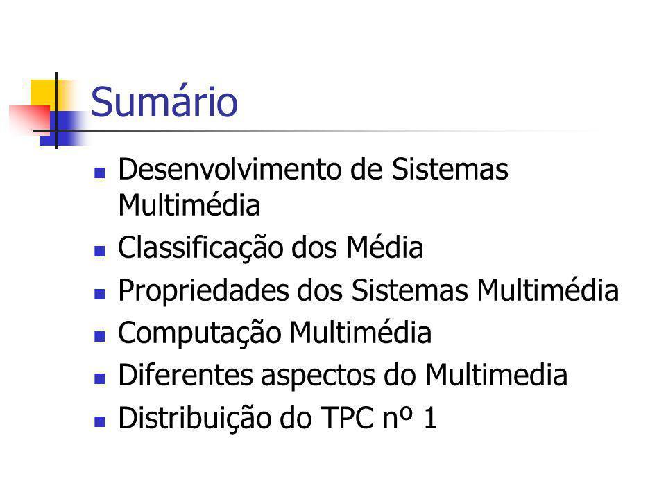 Sumário Desenvolvimento de Sistemas Multimédia Classificação dos Média