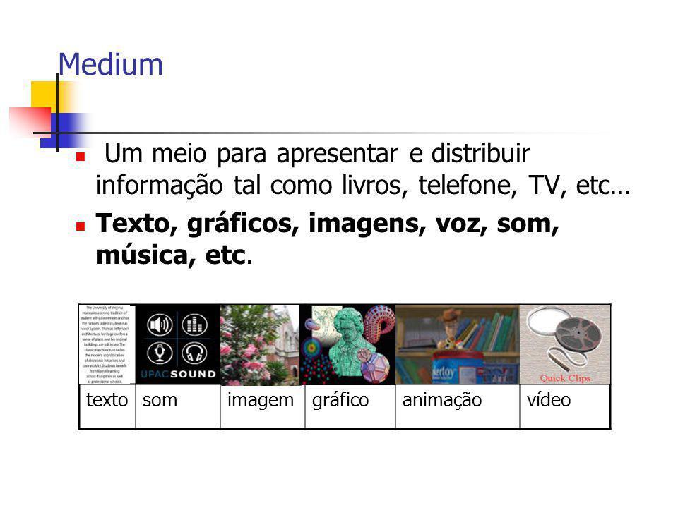Medium Um meio para apresentar e distribuir informação tal como livros, telefone, TV, etc… Texto, gráficos, imagens, voz, som, música, etc.