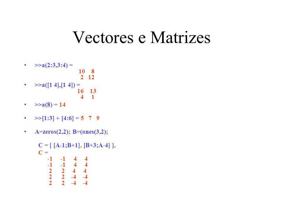 Vectores e Matrizes >>a(2:3,3:4) = 10 8 2 12