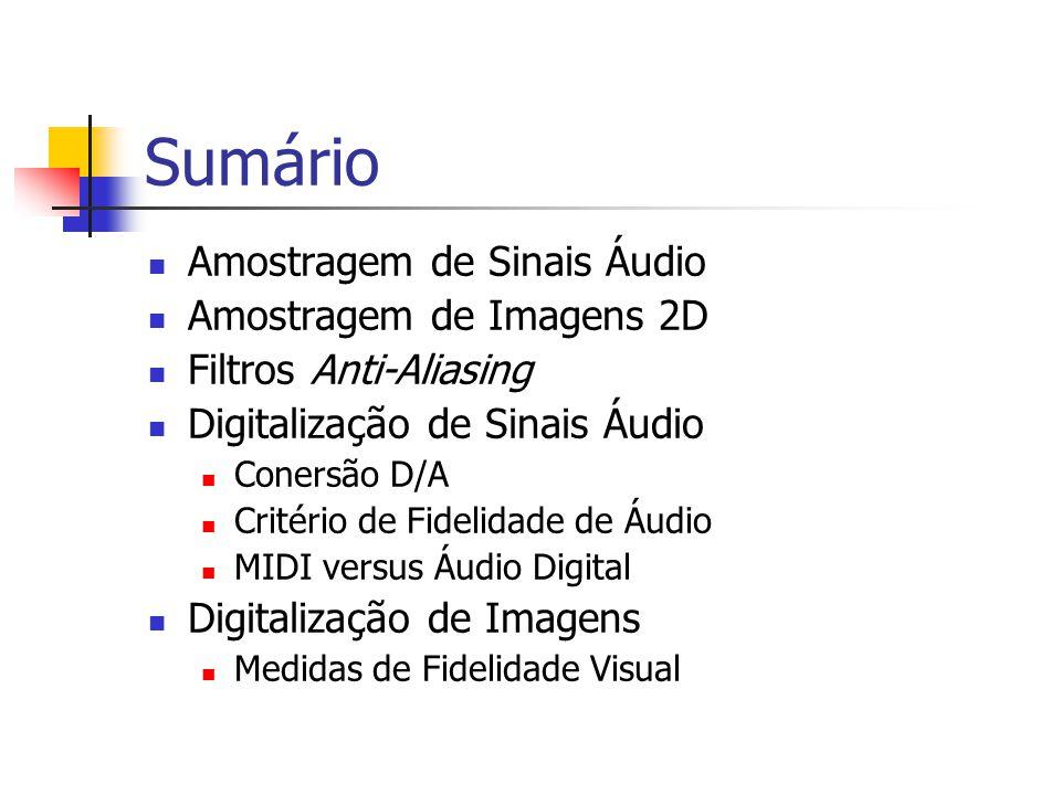 Sumário Amostragem de Sinais Áudio Amostragem de Imagens 2D
