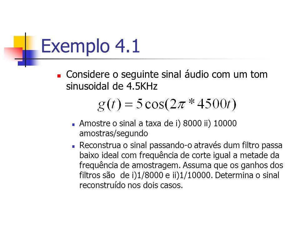 Exemplo 4.1 Considere o seguinte sinal áudio com um tom sinusoidal de 4.5KHz. Amostre o sinal a taxa de i) 8000 ii) 10000 amostras/segundo.
