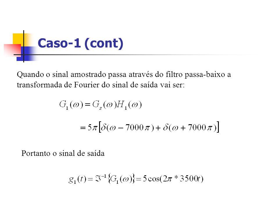 Caso-1 (cont) Quando o sinal amostrado passa através do filtro passa-baixo a transformada de Fourier do sinal de saída vai ser: