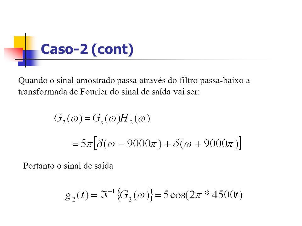 Caso-2 (cont) Quando o sinal amostrado passa através do filtro passa-baixo a transformada de Fourier do sinal de saída vai ser: