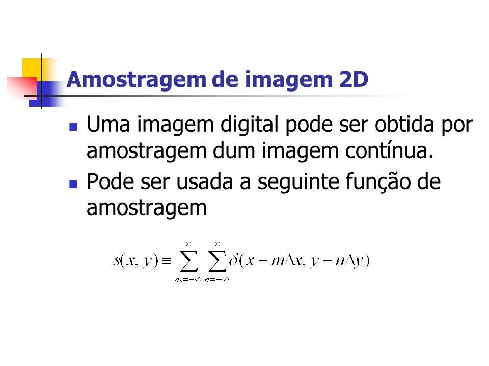 Amostragem de imagem 2D Uma imagem digital pode ser obtida por amostragem dum imagem contínua.