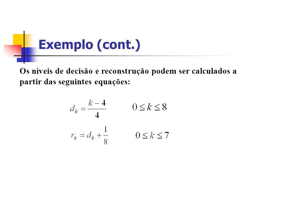 Exemplo (cont.) Os níveis de decisão e reconstrução podem ser calculados a partir das seguintes equações: