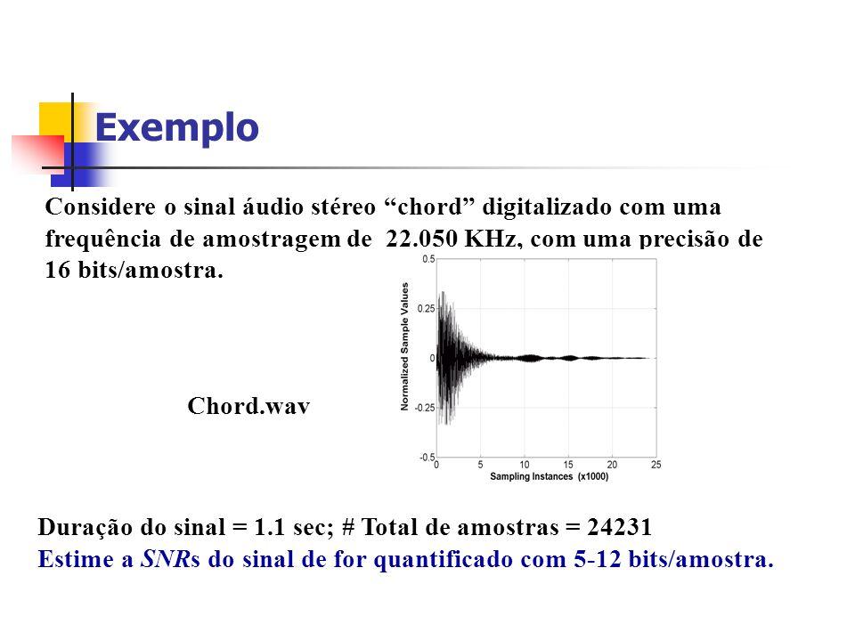 Exemplo Considere o sinal áudio stéreo chord digitalizado com uma frequência de amostragem de 22.050 KHz, com uma precisão de 16 bits/amostra.