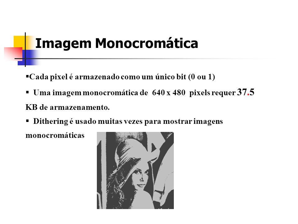 Imagem Monocromática Cada pixel é armazenado como um único bit (0 ou 1)