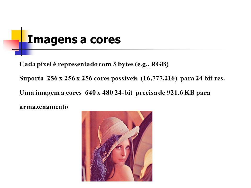 Imagens a cores Cada pixel é representado com 3 bytes (e.g., RGB)