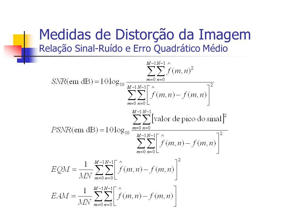 Medidas de Distorção da Imagem Relação Sinal-Ruído e Erro Quadrático Médio