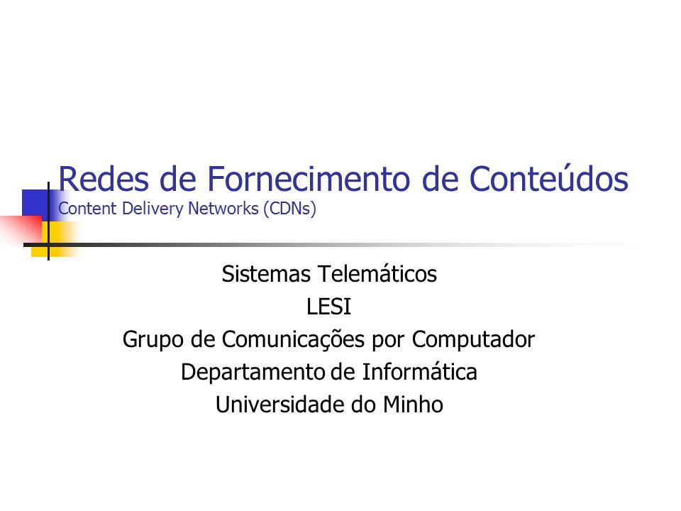 Redes de Fornecimento de Conteúdos Content Delivery Networks (CDNs)