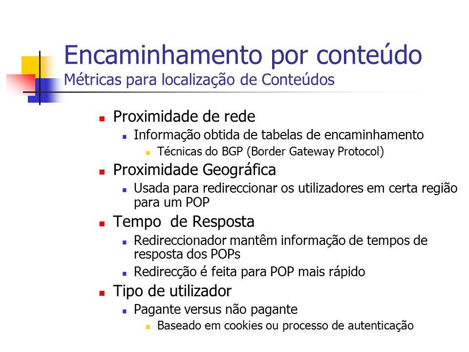 Encaminhamento por conteúdo Métricas para localização de Conteúdos
