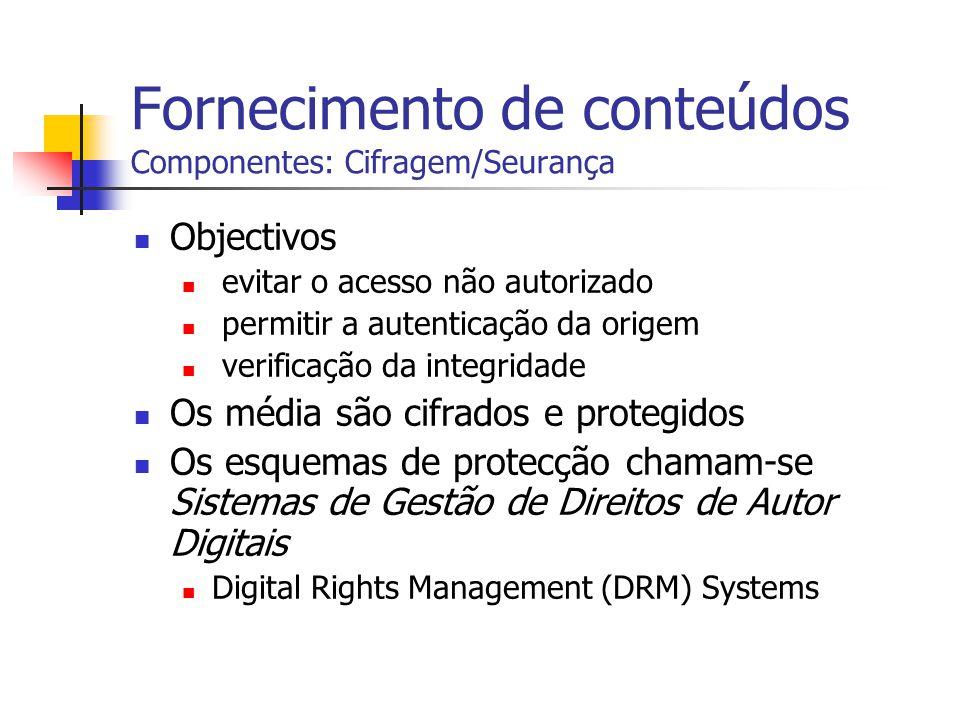 Fornecimento de conteúdos Componentes: Cifragem/Seurança