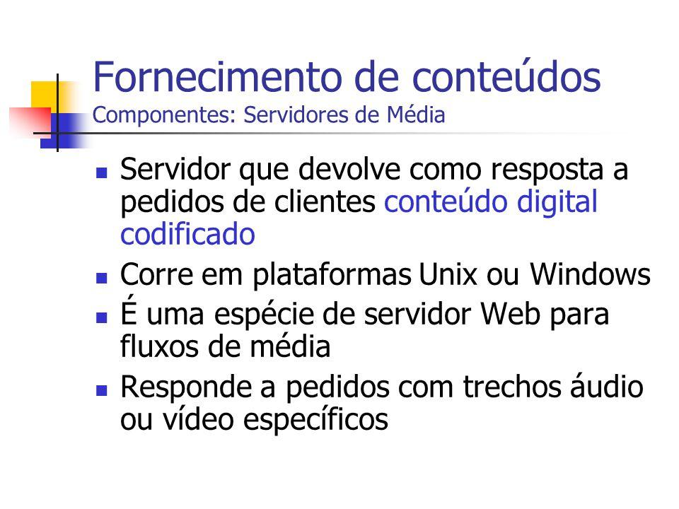 Fornecimento de conteúdos Componentes: Servidores de Média
