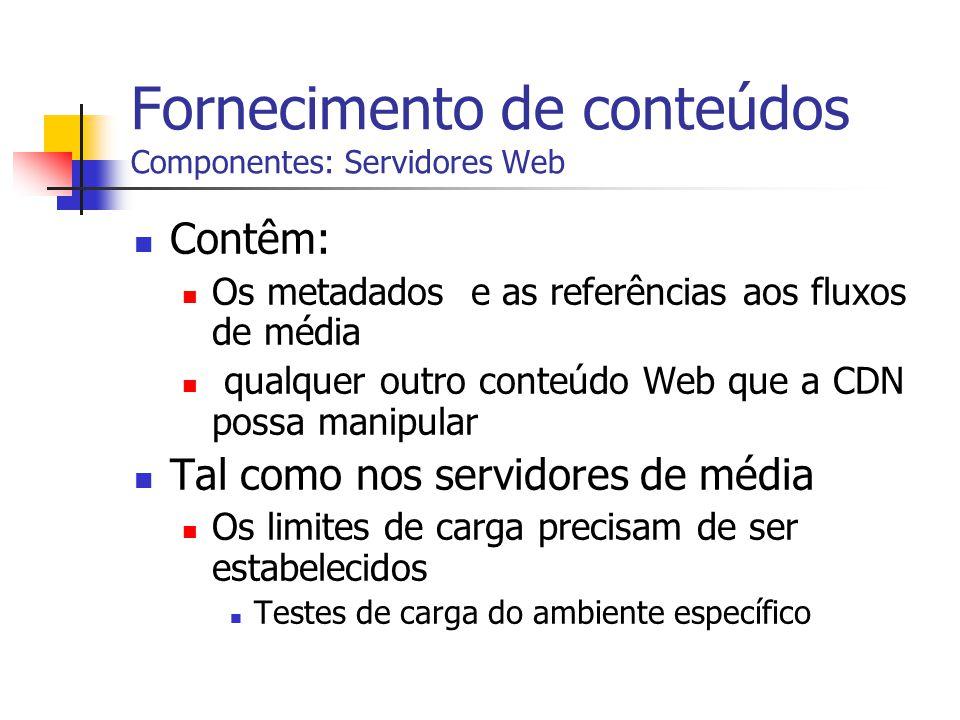 Fornecimento de conteúdos Componentes: Servidores Web