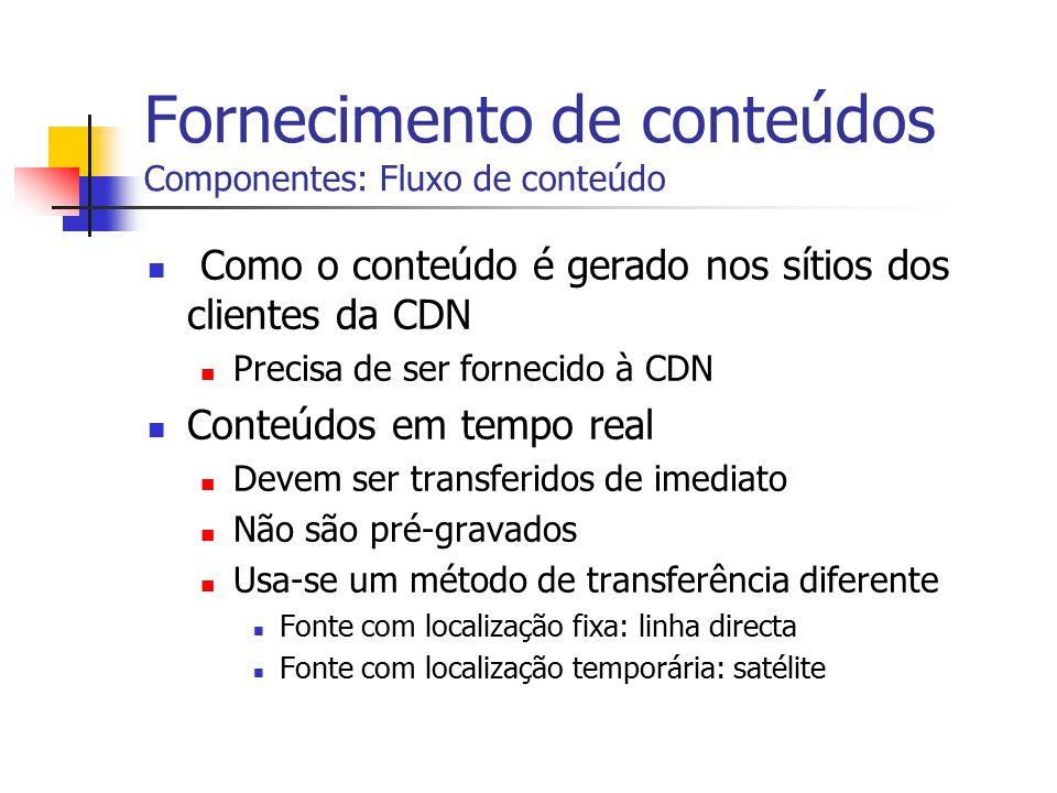 Fornecimento de conteúdos Componentes: Fluxo de conteúdo