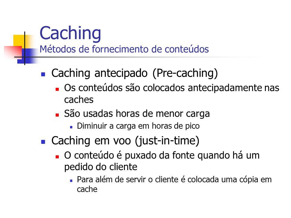 Caching Métodos de fornecimento de conteúdos