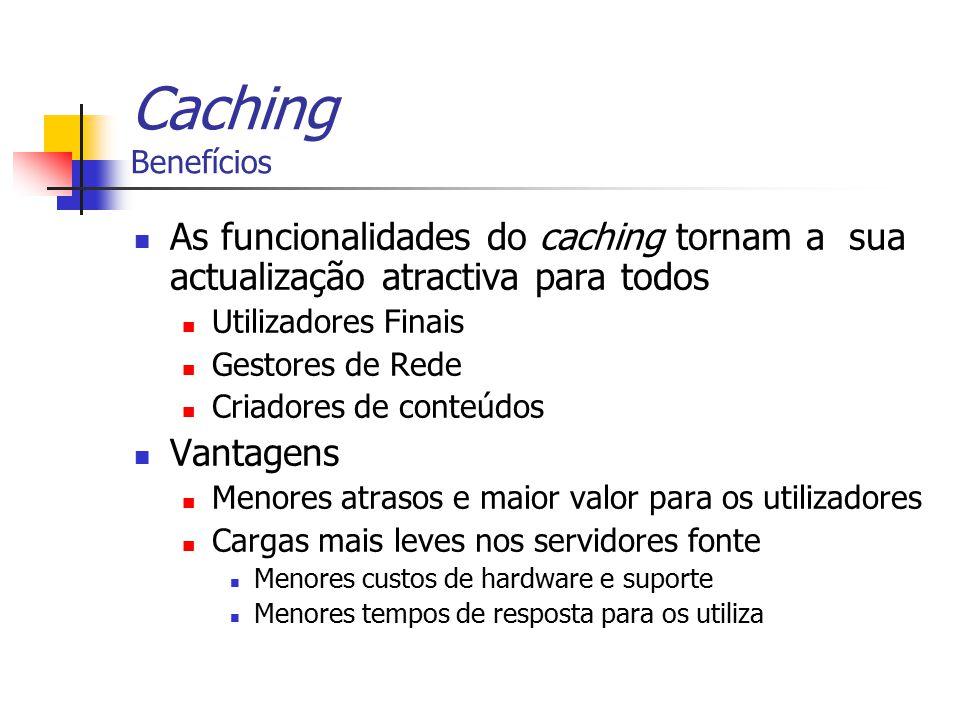 Caching Benefícios As funcionalidades do caching tornam a sua actualização atractiva para todos. Utilizadores Finais.
